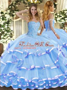 Custom Fit Aqua Blue Ball Gowns Sweetheart Sleeveless Organza Floor Length Lace Up Beading and Ruffled Layers 15 Quinceanera Dress