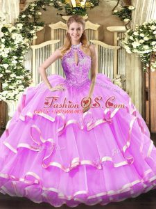 Smart Lilac Sweet 16 Quinceanera Dress Military Ball and Sweet 16 and Quinceanera with Beading Halter Top Sleeveless Lace Up