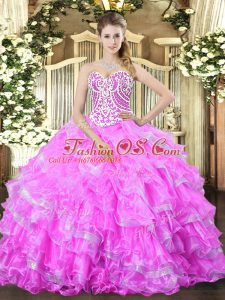 Sleeveless Floor Length Beading and Ruffled Layers Lace Up Quinceanera Gown with Lilac