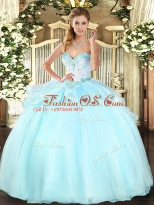 Comfortable Ball Gowns Quinceanera Dress Apple Green Sweetheart Organza Sleeveless Floor Length Lace Up