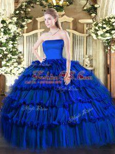 Cheap Royal Blue Strapless Zipper Ruffled Layers Sweet 16 Quinceanera Dress Sleeveless