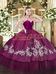 Attractive Fuchsia Sweetheart Zipper Embroidery Vestidos de Quinceanera Sleeveless