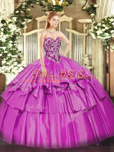Lilac Sweetheart Lace Up Beading and Ruffled Layers Quinceanera Gown Sleeveless