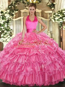 Great Rose Pink Lace Up Halter Top Ruffled Layers and Pick Ups Quinceanera Gowns Organza Sleeveless