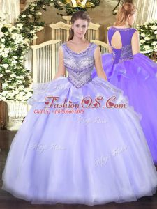 Lavender Sleeveless Floor Length Beading Lace Up Ball Gown Prom Dress