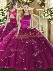 Fuchsia Scoop Lace Up Ruffles Quinceanera Dress Sleeveless