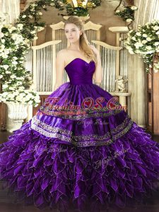 Organza and Taffeta Sleeveless Floor Length 15 Quinceanera Dress and Embroidery and Ruffles