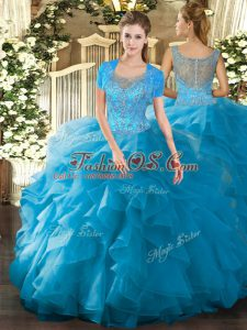 Best Scoop Sleeveless Clasp Handle Sweet 16 Dress Teal Tulle