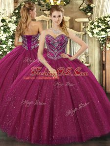 Customized Fuchsia Ball Gown Prom Dress Military Ball and Sweet 16 and Quinceanera with Beading Sweetheart Sleeveless Lace Up