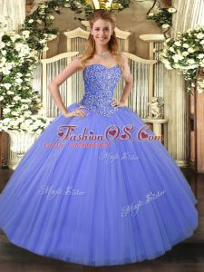 Dynamic Sweetheart Sleeveless Tulle Quince Ball Gowns Beading Lace Up