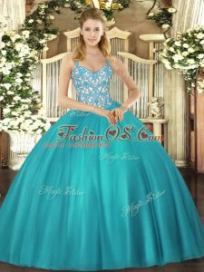 Latest Teal Straps Neckline Beading and Ruffles Sweet 16 Quinceanera Dress Sleeveless Lace Up