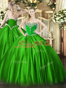 Custom Made Ball Gowns Beading Quinceanera Dress Lace Up Satin Sleeveless Floor Length