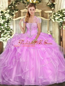 Lilac Strapless Neckline Appliques and Ruffles Vestidos de Quinceanera Sleeveless Lace Up