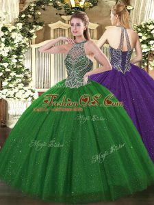Vintage Green Tulle Lace Up Halter Top Sleeveless Floor Length 15 Quinceanera Dress Beading