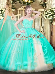 Apple Green Sweetheart Zipper Beading and Lace and Ruffles Sweet 16 Dresses Sleeveless