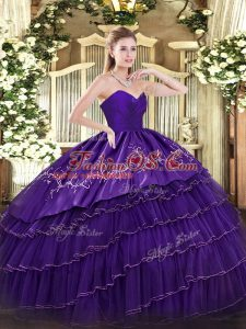 Glamorous Sleeveless Embroidery and Ruffled Layers Zipper 15 Quinceanera Dress