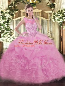 Custom Designed Organza Scoop Sleeveless Lace Up Beading and Ruffles Quinceanera Gowns in Lilac