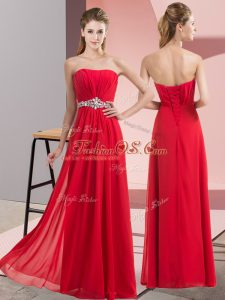 Sleeveless Chiffon Floor Length Lace Up Party Dresses in Red with Beading
