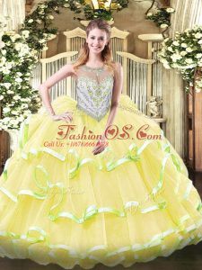 Yellow Green and Light Yellow Sleeveless Beading and Ruffled Layers Floor Length Sweet 16 Dresses