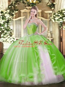 Floor Length Yellow Green 15 Quinceanera Dress Sweetheart Sleeveless Lace Up