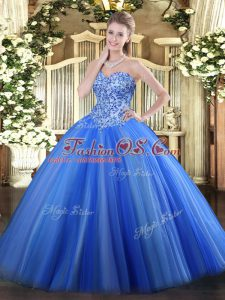 Luxury Blue Tulle Lace Up Sweetheart Sleeveless Quinceanera Dress Appliques