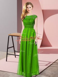 Artistic Floor Length Zipper Prom Gown Green for Prom and Party with Lace