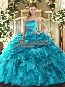 Luxury Teal Organza Lace Up Strapless Sleeveless Floor Length Ball Gown Prom Dress Ruffles and Pick Ups