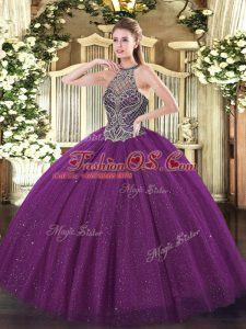 Cheap Eggplant Purple Sleeveless Tulle Lace Up Quinceanera Gowns for Party and Military Ball and Sweet 16 and Quinceanera