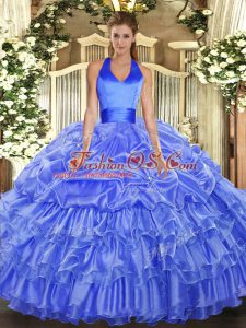 Unique Blue Sleeveless Ruffled Layers and Pick Ups Floor Length Quinceanera Gowns