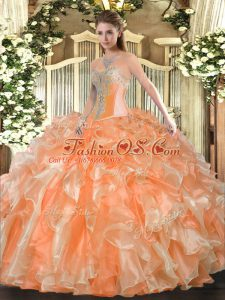 Amazing Orange Sweetheart Lace Up Beading and Ruffles Ball Gown Prom Dress Sleeveless
