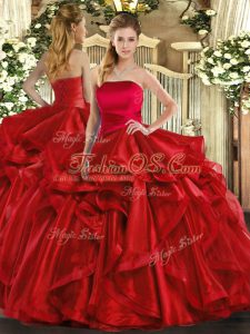 Red Lace Up Strapless Ruffles Quinceanera Gown Organza Sleeveless