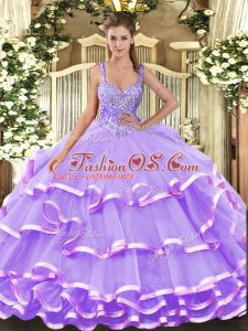 High Class Organza Sleeveless Floor Length 15 Quinceanera Dress and Beading and Ruffled Layers