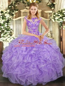 On Sale Cap Sleeves Beading and Appliques and Ruffles Lace Up Quinceanera Gown