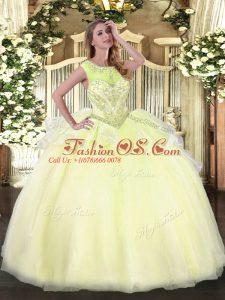 Organza Scoop Sleeveless Lace Up Beading Quince Ball Gowns in Light Yellow