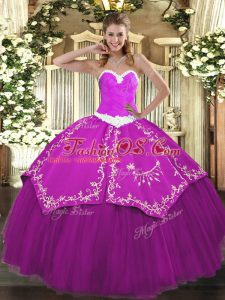 Fuchsia Organza and Taffeta Lace Up Sweetheart Sleeveless Floor Length Quinceanera Gown Appliques and Embroidery