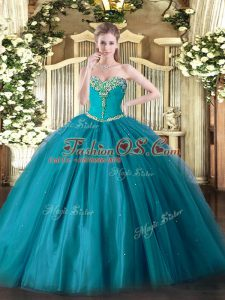 Pretty Teal Ball Gowns Sweetheart Sleeveless Tulle Floor Length Lace Up Beading Sweet 16 Dresses