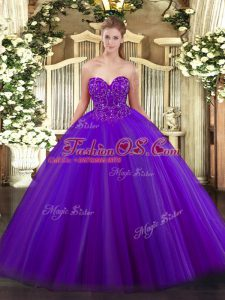 Sleeveless Tulle Floor Length Lace Up Quinceanera Dresses in Purple with Beading