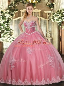Most Popular Watermelon Red Ball Gowns Beading and Appliques 15 Quinceanera Dress Lace Up Tulle Sleeveless Floor Length