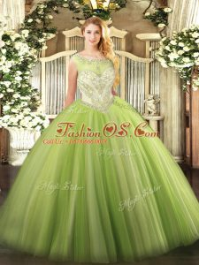 Yellow Green Ball Gowns Tulle Scoop Sleeveless Beading Floor Length Zipper Quinceanera Gown