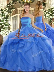 Beauteous Strapless Sleeveless Sweet 16 Dresses Floor Length Ruffles Blue Tulle