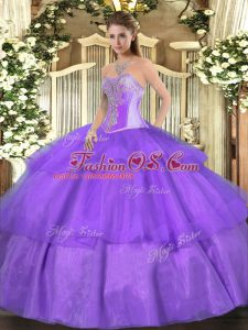 Lavender Tulle Lace Up 15th Birthday Dress Sleeveless Floor Length Beading and Ruffled Layers