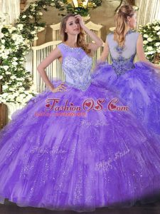 New Arrival Scoop Sleeveless Zipper Quinceanera Gown Lavender Organza
