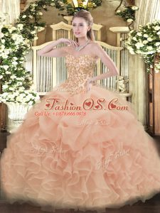 Smart Peach Ball Gowns Organza Sweetheart Sleeveless Appliques and Ruffles and Pick Ups Floor Length Lace Up Sweet 16 Dress