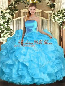 Aqua Blue Strapless Neckline Ruffles 15 Quinceanera Dress Sleeveless Lace Up
