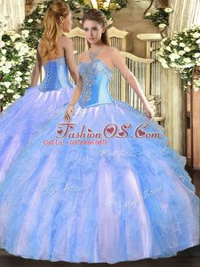 Elegant Aqua Blue Sweetheart Lace Up Beading and Ruffles Quinceanera Dresses Sleeveless