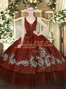 Designer Wine Red Sleeveless Beading and Embroidery Floor Length Quinceanera Gown