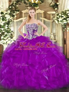 Deluxe Organza Sleeveless Floor Length Quinceanera Gowns and Beading and Ruffles