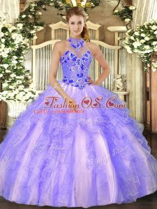 Custom Designed Lavender Lace Up Halter Top Embroidery and Ruffles Quinceanera Gown Organza Sleeveless