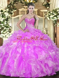 Discount Floor Length Lace Up Quinceanera Gowns Lilac for Military Ball and Sweet 16 and Quinceanera with Beading and Ruffles