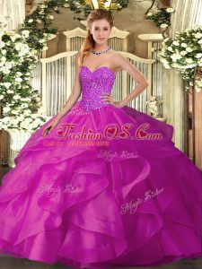 Sleeveless Tulle Floor Length Lace Up Quinceanera Dress in Fuchsia with Beading and Ruffles
